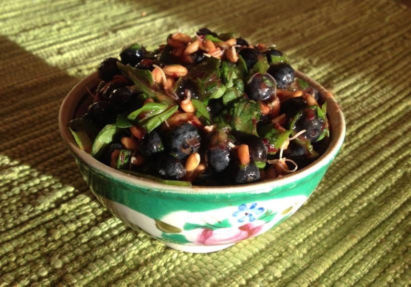 Салат из голубики и пророщенной пшеницы